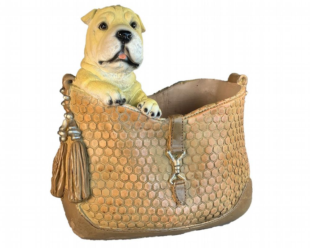 Mastiff Puppy In Handbag Flower Plant Pot